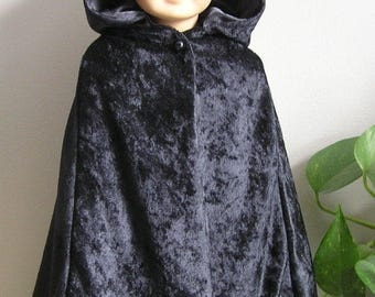 25% Off - Black Crushed Velvet Cape for 18 Inch Belle or AG Doll