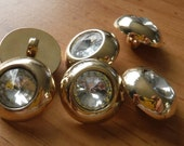 """10 Gold Thick Headlight Shank Buttons Size 13/16"""""""