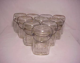Group of Ten c1920s ACME Pint Fruit Jars with an Embossed Patriotic Stars & Stripes Shield, Great wedding Decor
