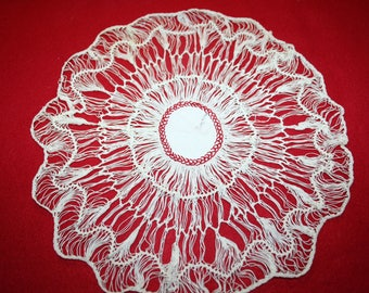 Vintage Fabric & Hairpin Lace Doily- 10 inches