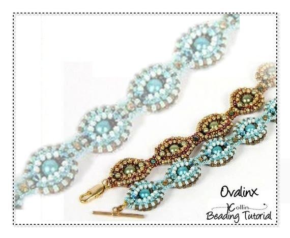 Beading Pattern, Right Angle Weave, RAW 2-Way Ovals Reverseable  Bracelet Beading Instructions, DIY Beaded Jewelry Beading Tutorial, OVALINX