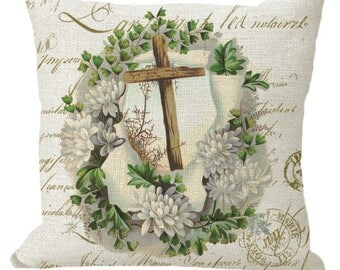 Cross and Thorns Surrounded with Spring Blossoms Choice of 14x14 16x16 18x18 20x20 22x22 24x24 26x26 inch Pillow Cover
