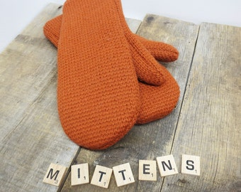 Women's recycled wool sweater mittens pumpkin orange