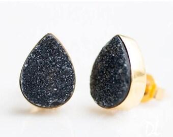 40 OFF - Black Druzy Stud Earrings - Drussy Studs - Drusy Studs - Gemstone Studs - Round Studs - Gold Stud Earrings - Post Earrings