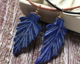 Lapis Lazuli Necklace, Lapis Necklace, Arrow Head Necklace, Leather Necklace, Blue Leaf Necklace, Lapis Lazuli Jewelry, Woodland Jewelry