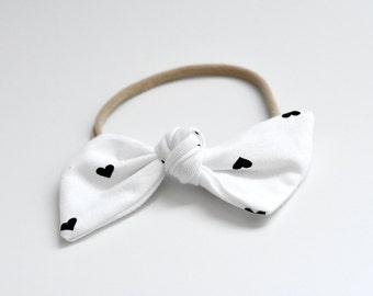 Baby Bow Headband - Top Knot Baby Headband - Newborn Nylon headband - Valentines Day Gift for Kids