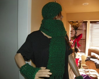 Green  Scarf Set Hat and Wrist Warmers  Very Soft and Thick Scarf   Neck Warmer Ready to Ship
