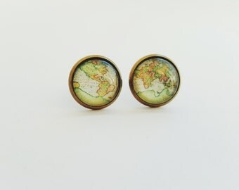 Vintage World Map Stud Earrings Dangle- Antique World Map- Nickel free stud earrings- Retro Space- Globetrotter, FREE WORLDWIDE SHIPPING