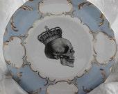 """Blue & Gold Skull Dinner Plate, 10.5"""", Skull Dinnerware, Halloween Dish, Skull China, Skull Plate, Skeleton Plate, Goth Plate, Skull Dish"""