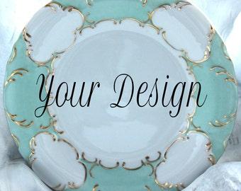 "10.5"" Customizable Dinner Plate, Green Aqua Gold Dinnerware, Customizable Dish, Personalized Plate, Monogrammed Dish, Bespoke Wedding Plate"
