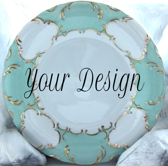 10.5  Customizable Dinner Plate Green Aqua Gold Dinnerware Customizable Dish Personalized Plate & 10.5