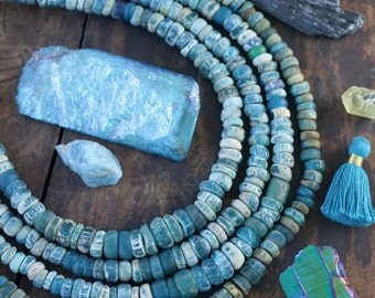 In the Deep : Djenne Beads from Mali, Africa, Aqua Blue Roman Glass Beads, Graduated Antique Strand, 4x2-12x5mm, Nautical Bead Supplies