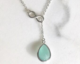 Aqua Lariat Necklace. Bridesmaids Y Necklace in Aqua and Silver. Wedding Jewelry. Lariat Necklace. Bridesmaids Gifts.