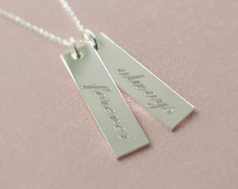 2 Inspirational Engraved Sterling Silver Love Always Necklace - Affirmation, Inspirational, Believe, Faith, Hope, Family, Love, Custom