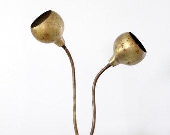 vintage brass two-headed desk lamp, goose neck lamp