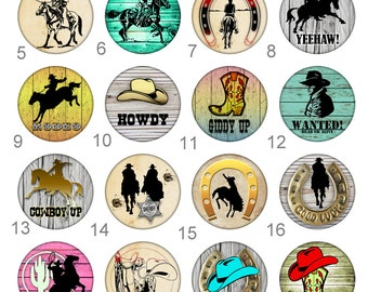 Cowboy Rodeo Cowbuy Up Horeshoe  Pinback Button Flatback Badge or Magnet 1 inch set of 10