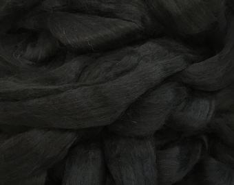 Alpaca Fiber Roving Top, 100 Grams, Superfine, Black Spinning, Hearts Desire Fiber