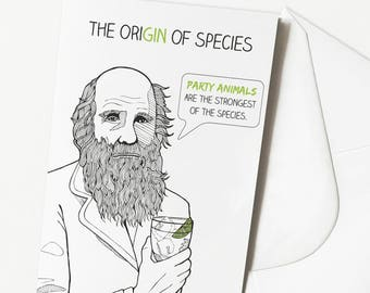 Funny Gin and Tonic Birthday Card | Party Animal | Charles Darwin