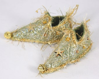 Green Gold Fairy Shoe christmas ornament star magical holiday decor elf slipper tree decoration  miniature footwear