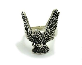 Sterling silver solid 925 ring eagle biker pendant
