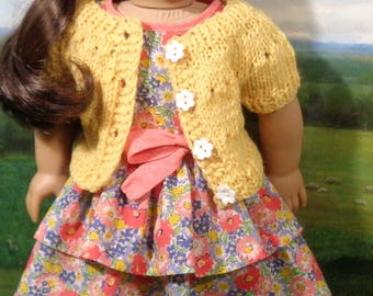 RESERVED Spring Sweater in Yellow with Ruffled Dress for 18 inch Girls