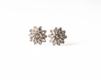 Small Chrysanthemum - Sterling Silver Earrings
