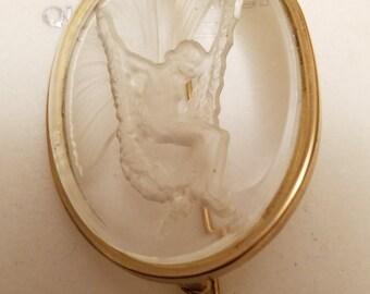 Vintage glass brooch fairy girl angel on a swing cut design