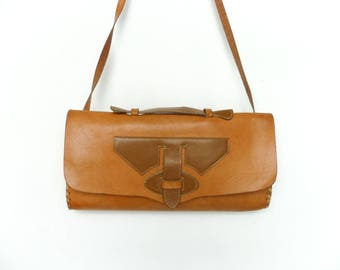 Vintage Leather Bag Purse / Caramel Brown / Handbag Shoulder Bag Top Handle Crossbody Clutch Satchel
