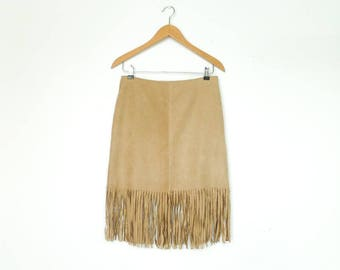 Vintage Skirt Velvet / With Fringe / Beige Light Clear Natural Tan / Hips Fitted / Knee Length / Hippie Boho Folk Indian / medium
