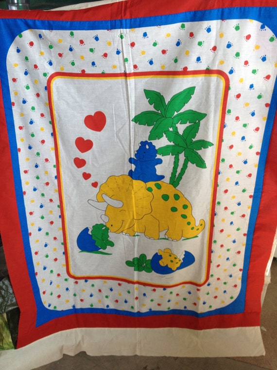 Reserved for anna vintage dinosaur fabric cribsize panel with for Kids dinosaur fabric