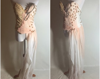 White Peach Ombre Silk Crystal Jeweled Couture Corset