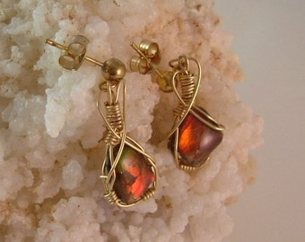 Bright Red to Orange Gem Ammolite from Utah Deposit, Gold filled Wire Wrapped Earrings in Gold Findings 132