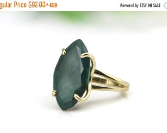 SUMMER SALE - Agate emerald ring,marquise ring,gemstone ring,gold ring,solid gold ring,cocktail ring,statement ring