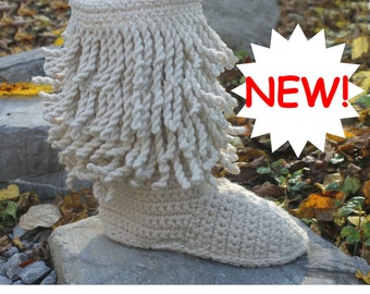 Crochet Boots Pattern -------- LAYERED FRINGE BOOTS ------ wear them outdoors------streetwear-----warm and cozy womens size 5-10