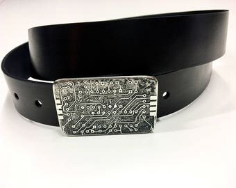 Electronic Circuitry Belt Buckle - Etched and Welded Stainless Steel - Handmade