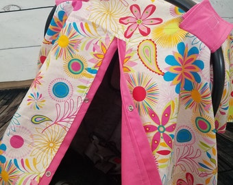 Carseat Canopy Girl Floral Last One READY TO SHIP
