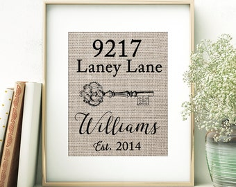 Burlap Print, Personalized Address Sign, Gallery Wall Print, Housewarming Gift, Farmhouse Decor, Vintage Key Burlap Print, Home Wall Art
