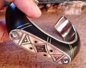 Tuareg decorated Bracelet with Ebony & beautiful geometrical patterns, Niger