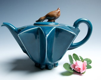 Star Goose Porcelain Teapot // Sapphire and Brown