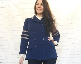 Vintage 60s Mod Sargeant Pepper Navy Arm Band Plaid Military Peacoat Jacket Coat Blazer L