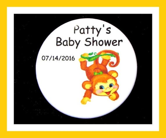 Baby Shower Monkey Favor,Personalized Button,Favor Tag,Its a girl,Its a Boy,Party Favors,Birthday Party Favors,Personalized Favors,Set of 10