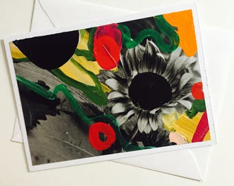 Sunflower hand painted greeting card
