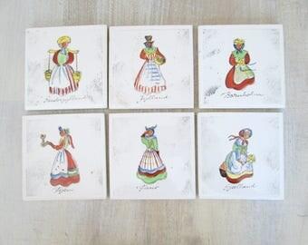 Hand Painted Danish Ceramic Tiles Home Decor Coasters Set of 6