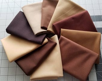 SALE Brown Kona Cotton Bundle, Robert Kaufman Fabrics