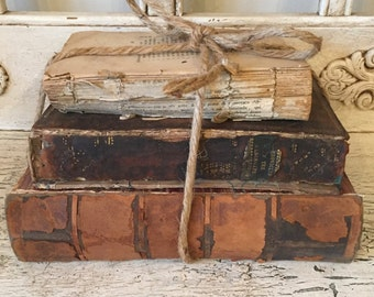 Farmhouse Tattered Leather Book Stack  - Rustic Home Decor - Library Wedding - Antique, One of a Kind Decor