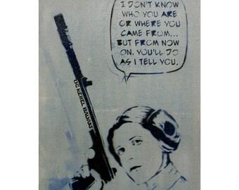 STAR WARS Art Princess Leia 12 x 16 Disney Princess Original Painting Original Rebel Badass With Sass Original Star Wars Artwork