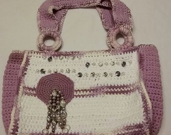 Lavender and White Bag
