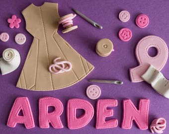 Fondant Sewing, Seamstress, Thread, Button and Needle Cake Decorations Perfect for a Birthday Cake