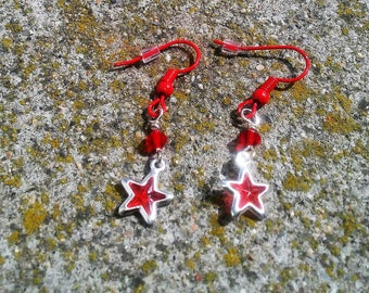 Ayla's Bead Creations red enameled french hooks, red crystal, and silver acrylic stars dangle earrings