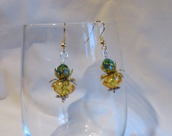 Pumpkin Earrings on Gold Ear Wires, Pumpkin, Earrings